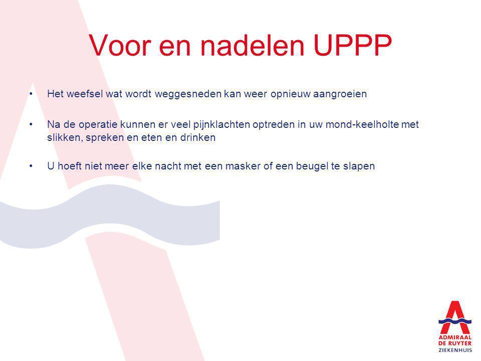 Voor en nadelen UPPP Het weefsel wat wordt weggesneden kan weer opnieuw aangroeien Na de operatie kunnen er veel pijnklachten optreden in uw mond-keel