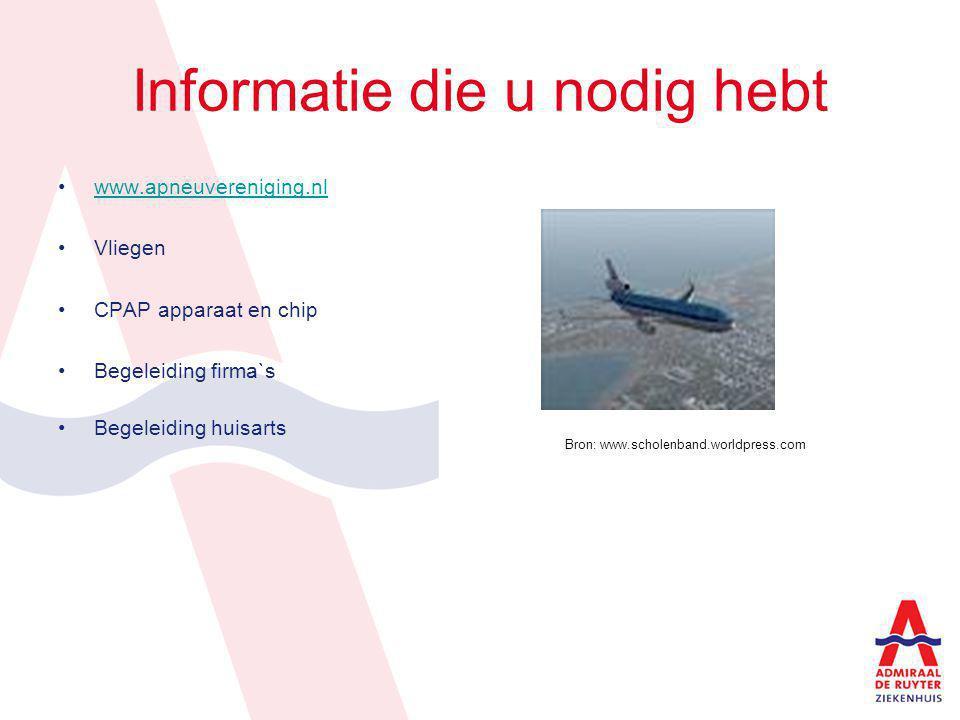 Informatie die u nodig hebt www.apneuvereniging.nl Vliegen CPAP apparaat en chip Begeleiding firma`s Begeleiding huisarts Bron: www.scholenband.worldp