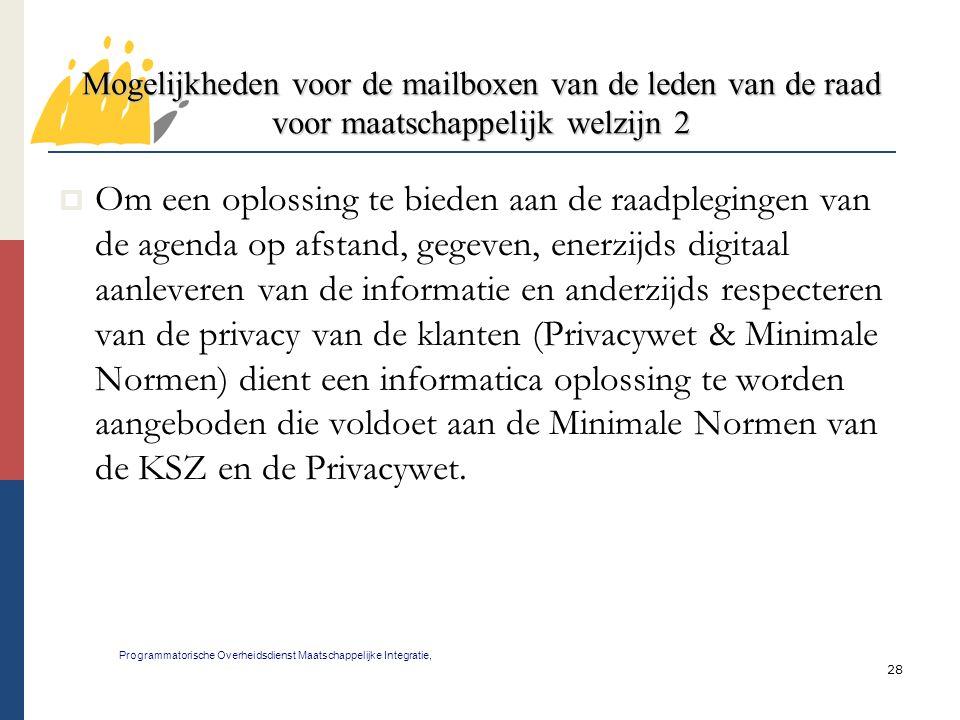 28 Mogelijkheden voor de mailboxen van de leden van de raad voor maatschappelijk welzijn 2 Programmatorische Overheidsdienst Maatschappelijke Integrat