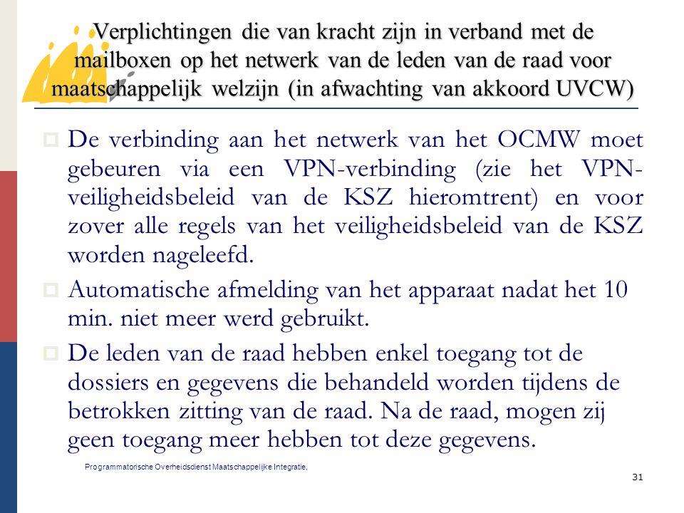 31 Verplichtingen die van kracht zijn in verband met de mailboxen op het netwerk van de leden van de raad voor maatschappelijk welzijn (in afwachting