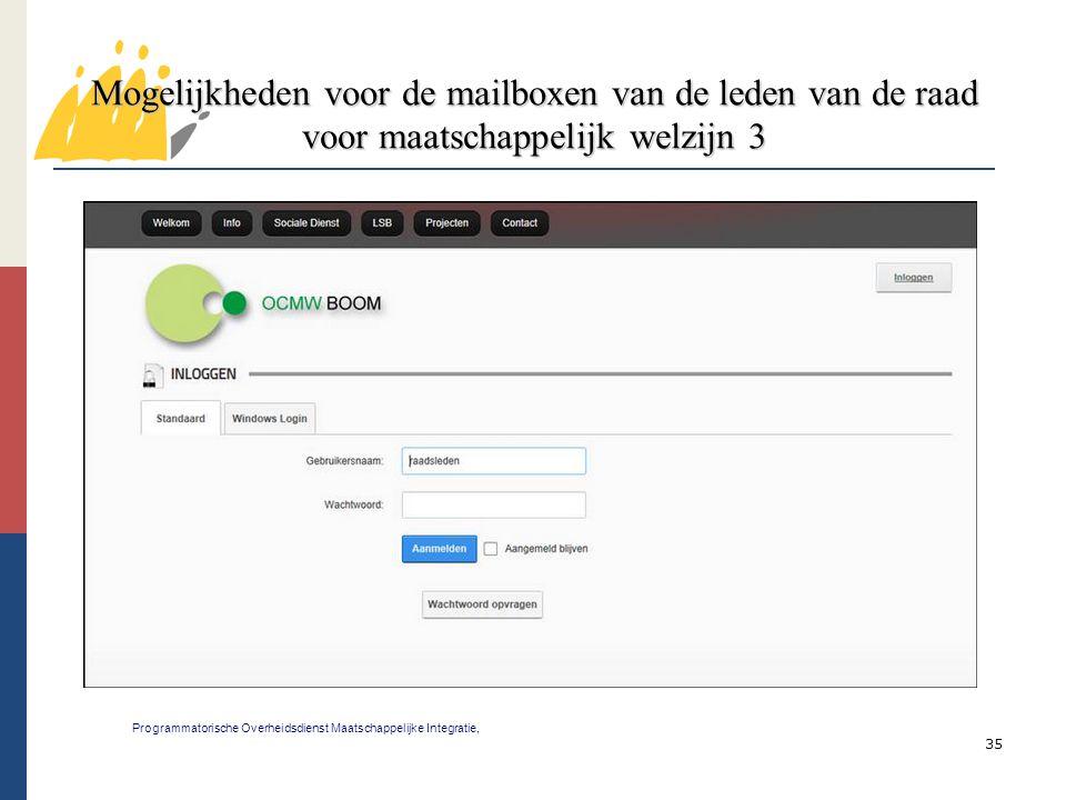 35 Mogelijkheden voor de mailboxen van de leden van de raad voor maatschappelijk welzijn 3 Programmatorische Overheidsdienst Maatschappelijke Integrat