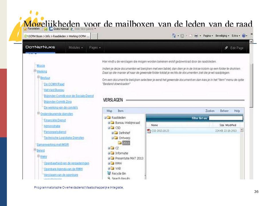 36 Mogelijkheden voor de mailboxen van de leden van de raad voor maatschappelijk welzijn 3 Programmatorische Overheidsdienst Maatschappelijke Integrat