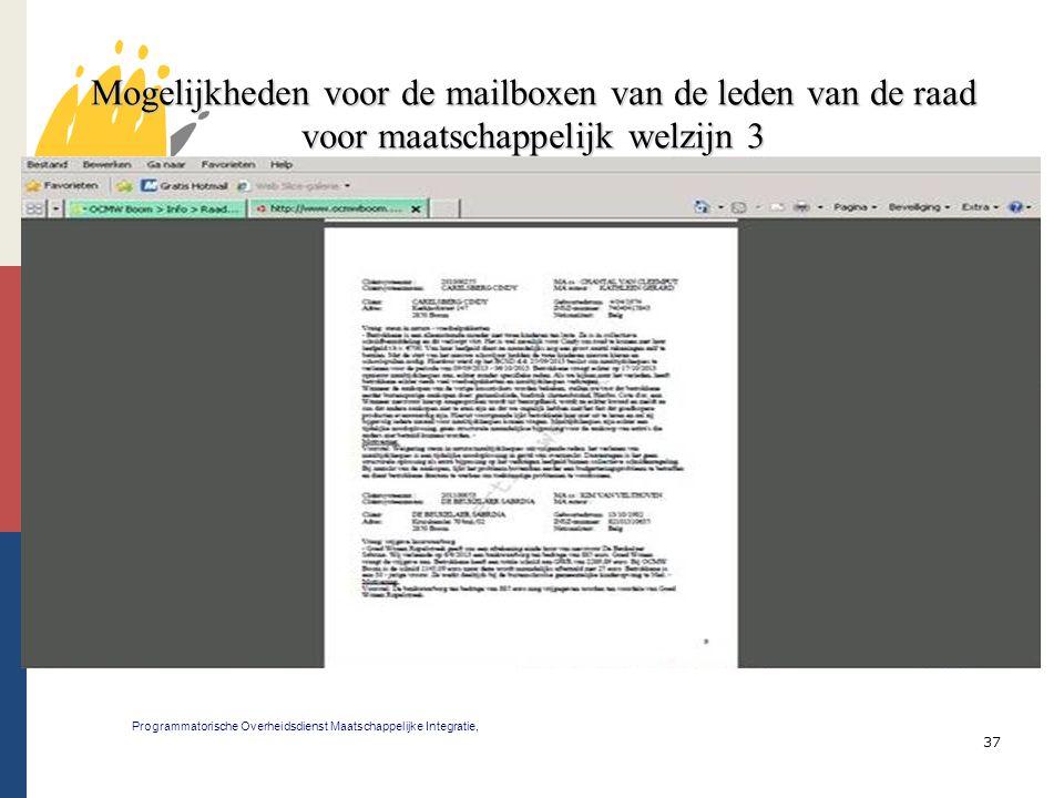 37 Mogelijkheden voor de mailboxen van de leden van de raad voor maatschappelijk welzijn 3 Programmatorische Overheidsdienst Maatschappelijke Integrat