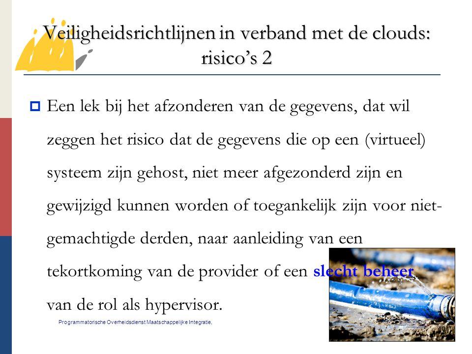 40 Veiligheidsrichtlijnen in verband met de clouds: risico's 2 Programmatorische Overheidsdienst Maatschappelijke Integratie,  Een lek bij het afzond