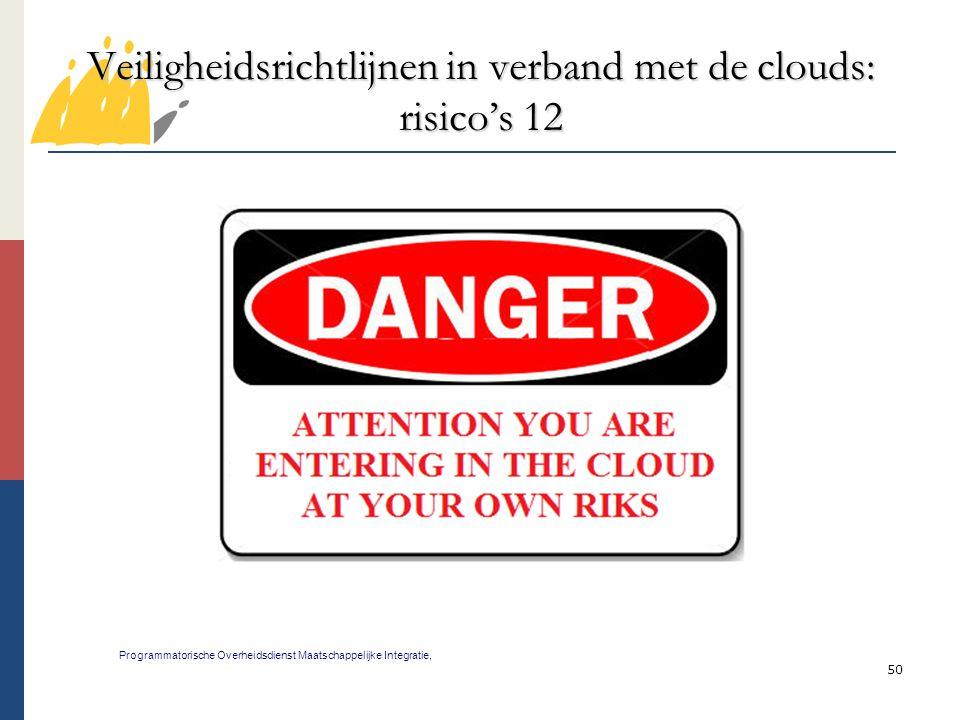 50 Veiligheidsrichtlijnen in verband met de clouds: risico's 12 Programmatorische Overheidsdienst Maatschappelijke Integratie,