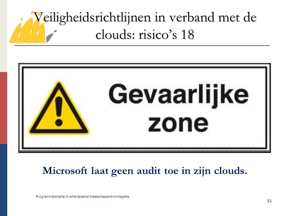 51 Veiligheidsrichtlijnen in verband met de clouds: risico's 18 Programmatorische Overheidsdienst Maatschappelijke Integratie, Microsoft laat geen aud