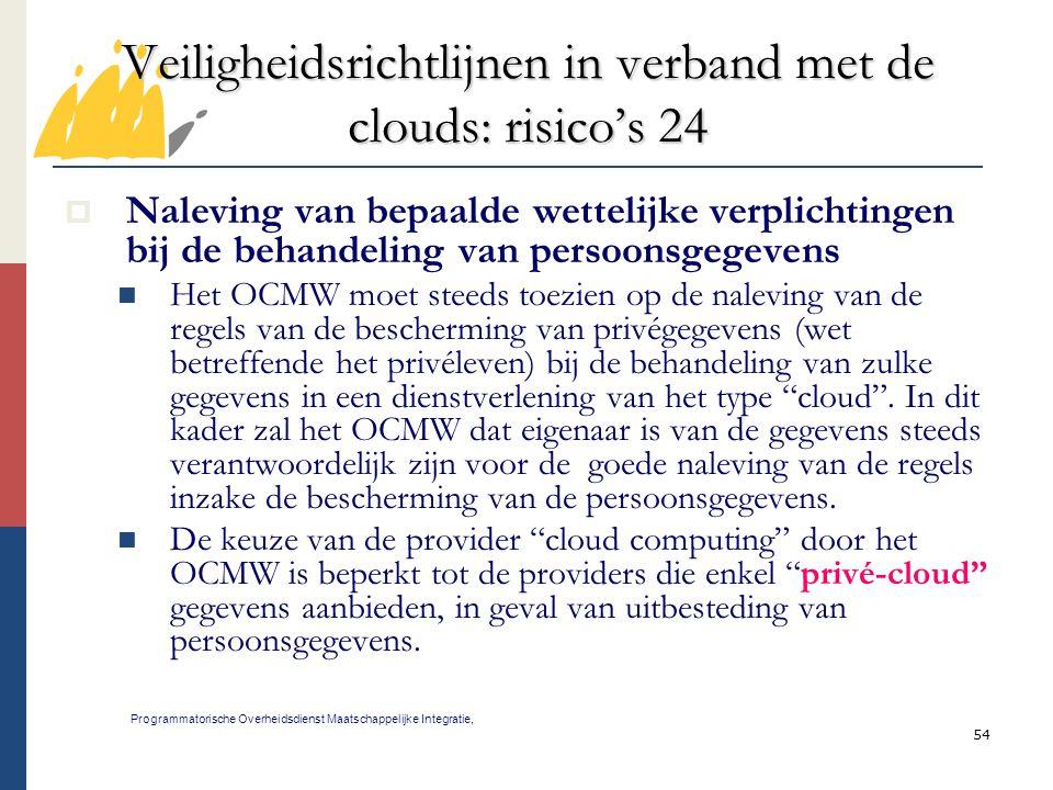 54 Veiligheidsrichtlijnen in verband met de clouds: risico's 24 Programmatorische Overheidsdienst Maatschappelijke Integratie,  Naleving van bepaalde