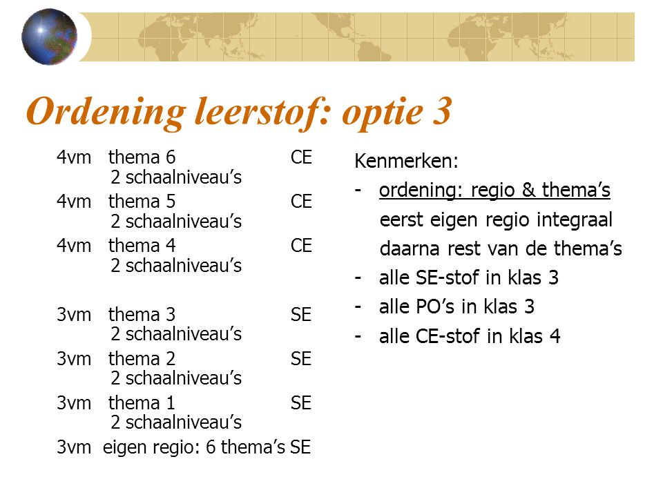 Ordening leerstof: optie 3 4vm thema 6 CE 2 schaalniveau's 4vm thema 5 CE 2 schaalniveau's 4vm thema 4 CE 2 schaalniveau's 3vm thema 3 SE 2 schaalniveau's 3vm thema 2 SE 2 schaalniveau's 3vm thema 1 SE 2 schaalniveau's 3vm eigen regio: 6 thema's SE Kenmerken: - ordening: regio & thema's eerst eigen regio integraal daarna rest van de thema's - alle SE-stof in klas 3 - alle PO's in klas 3 - alle CE-stof in klas 4