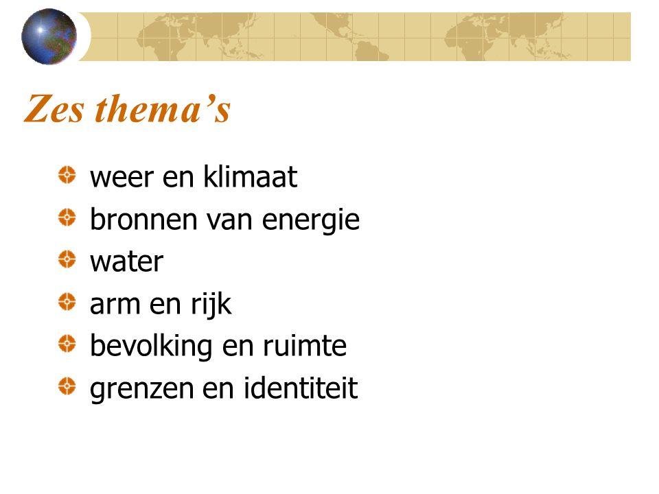 Drie schaalniveaus Elk van de 6 thema's wordt uitgewerkt in: eigen omgeving en een contrasterend gebied in Nederland Nederland en een contrasterend land in Europa twee contrasterende wereldregio's / belangrijke landen in de wereld