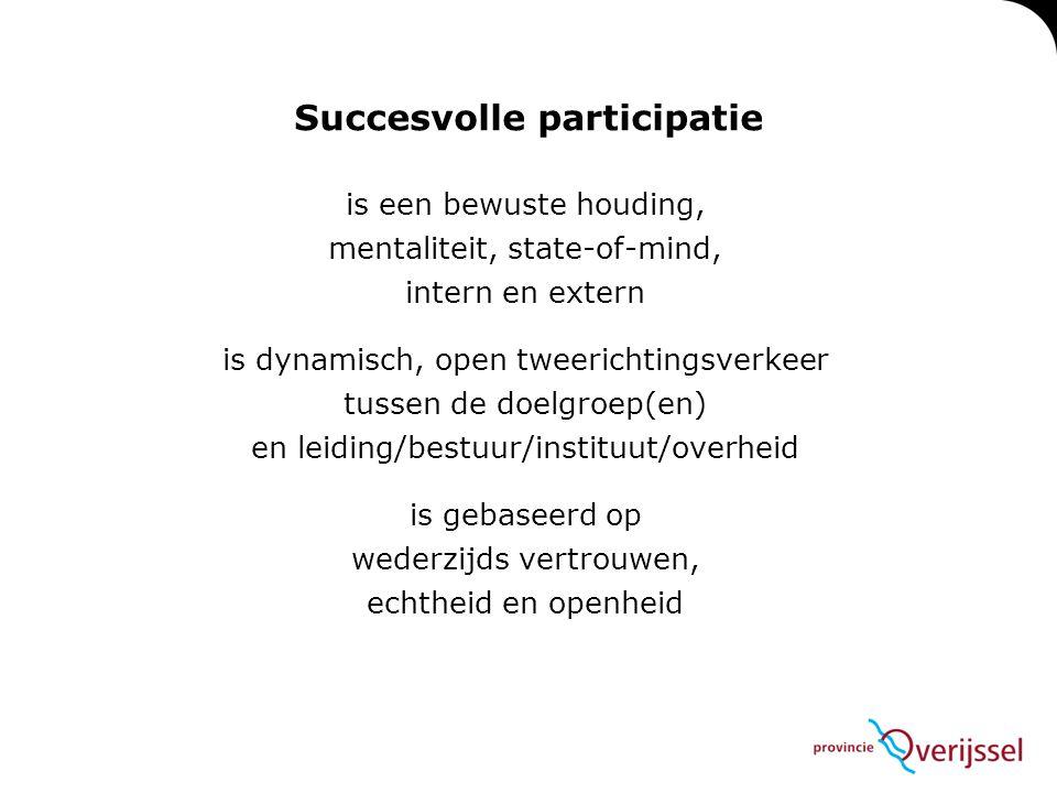 is een bewuste houding, mentaliteit, state-of-mind, intern en extern is dynamisch, open tweerichtingsverkeer tussen de doelgroep(en) en leiding/bestuu