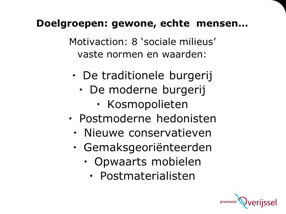 Doelgroepen: gewone, echte mensen… Motivaction: 8 'sociale milieus' vaste normen en waarden:  De traditionele burgerij  De moderne burgerij  Kosmop