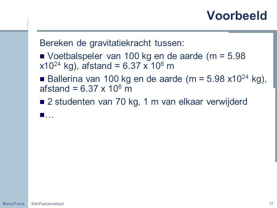 Broos Fonck Sint-Paulusinstituut17 Voorbeeld Bereken de gravitatiekracht tussen: Voetbalspeler van 100 kg en de aarde (m = 5.98 x10 24 kg), afstand =