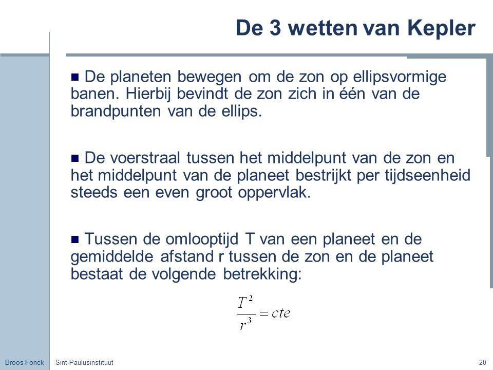 Broos Fonck Sint-Paulusinstituut20 De 3 wetten van Kepler De planeten bewegen om de zon op ellipsvormige banen. Hierbij bevindt de zon zich in één van
