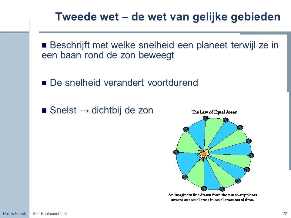 Broos Fonck Sint-Paulusinstituut22 Tweede wet – de wet van gelijke gebieden Beschrijft met welke snelheid een planeet terwijl ze in een baan rond de z