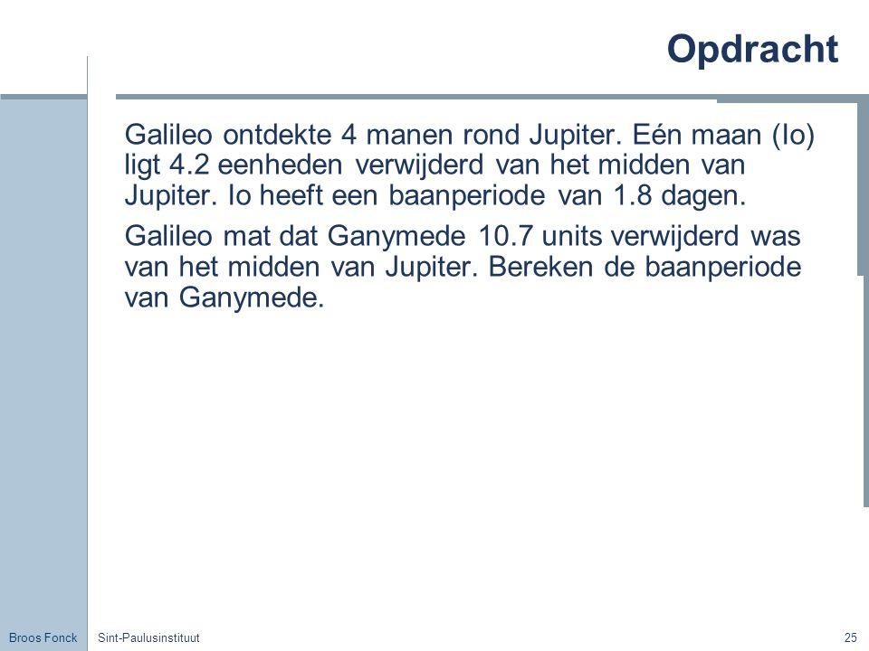 Broos Fonck Sint-Paulusinstituut25 Opdracht Galileo ontdekte 4 manen rond Jupiter. Eén maan (Io) ligt 4.2 eenheden verwijderd van het midden van Jupit