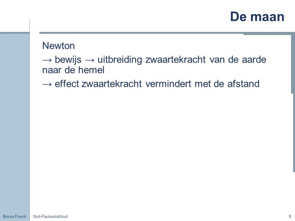 Broos Fonck Sint-Paulusinstituut8 De maan Newton → bewijs → uitbreiding zwaartekracht van de aarde naar de hemel → effect zwaartekracht vermindert met