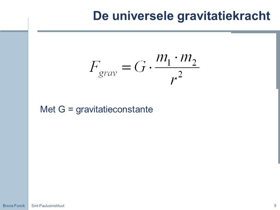 Broos Fonck Sint-Paulusinstituut9 De universele gravitatiekracht Met G = gravitatieconstante