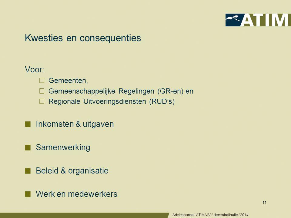 Kwesties en consequenties Voor: Gemeenten, Gemeenschappelijke Regelingen (GR-en) en Regionale Uitvoeringsdiensten (RUD's) Inkomsten & uitgaven Samenwe
