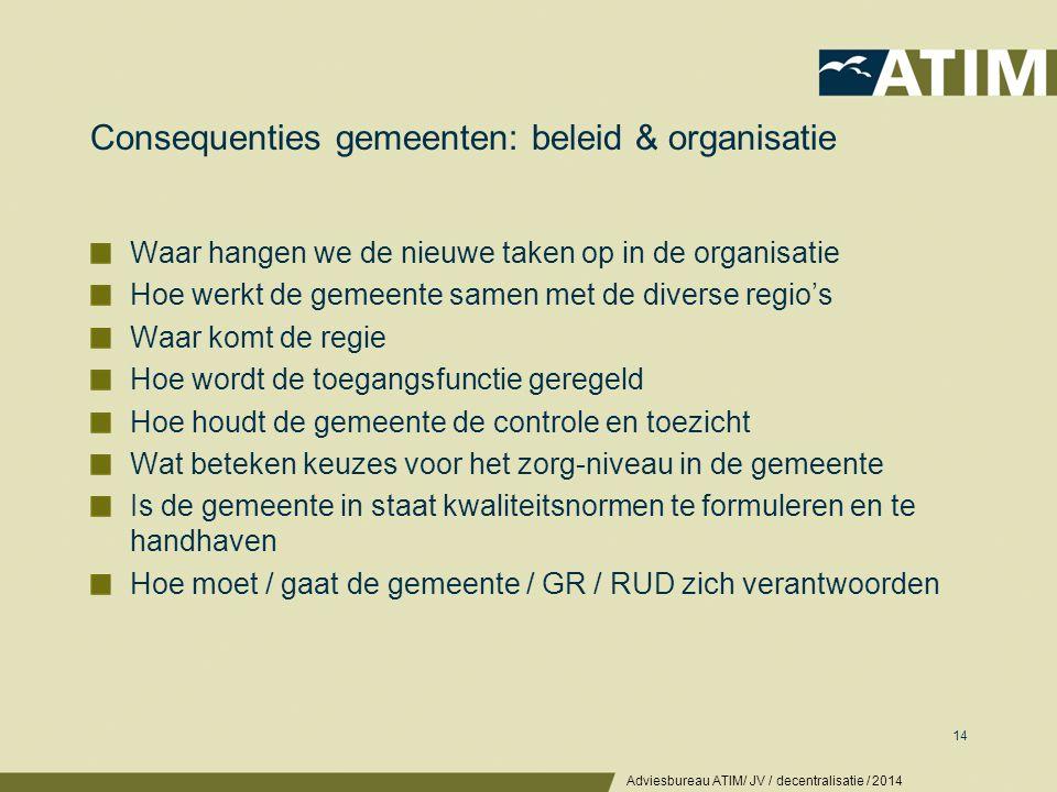 Consequenties gemeenten: beleid & organisatie Waar hangen we de nieuwe taken op in de organisatie Hoe werkt de gemeente samen met de diverse regio's W