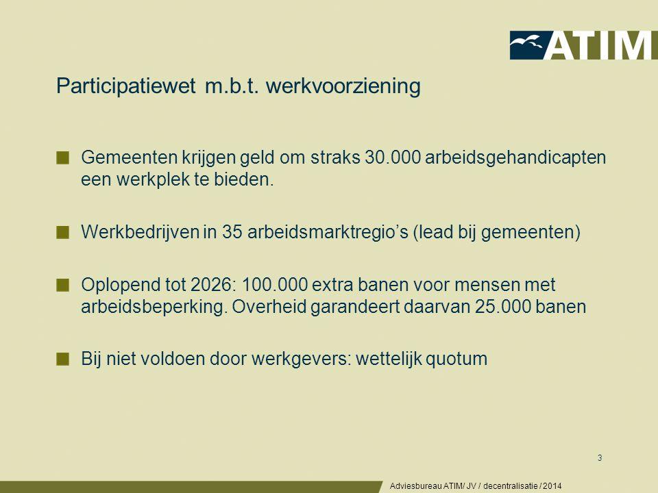 Participatiewet m.b.t. werkvoorziening Gemeenten krijgen geld om straks 30.000 arbeidsgehandicapten een werkplek te bieden. Werkbedrijven in 35 arbeid