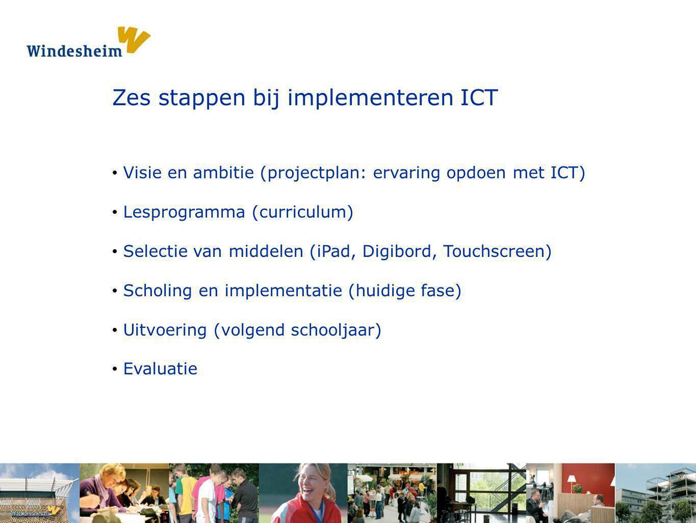 Opdracht 1: Pak een s Zes stappen bij implementeren ICT Visie en ambitie (projectplan: ervaring opdoen met ICT) Lesprogramma (curriculum) Selectie van