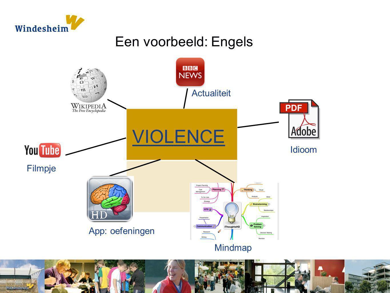 Een voorbeeld: Engels Idioom Actualiteit VIOLENCE Filmpje Mindmap App: oefeningen