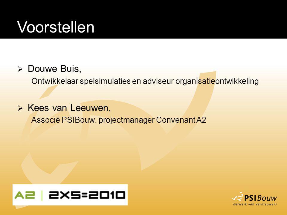 Voorstellen  Douwe Buis, Ontwikkelaar spelsimulaties en adviseur organisatieontwikkeling  Kees van Leeuwen, Associé PSIBouw, projectmanager Convenant A2