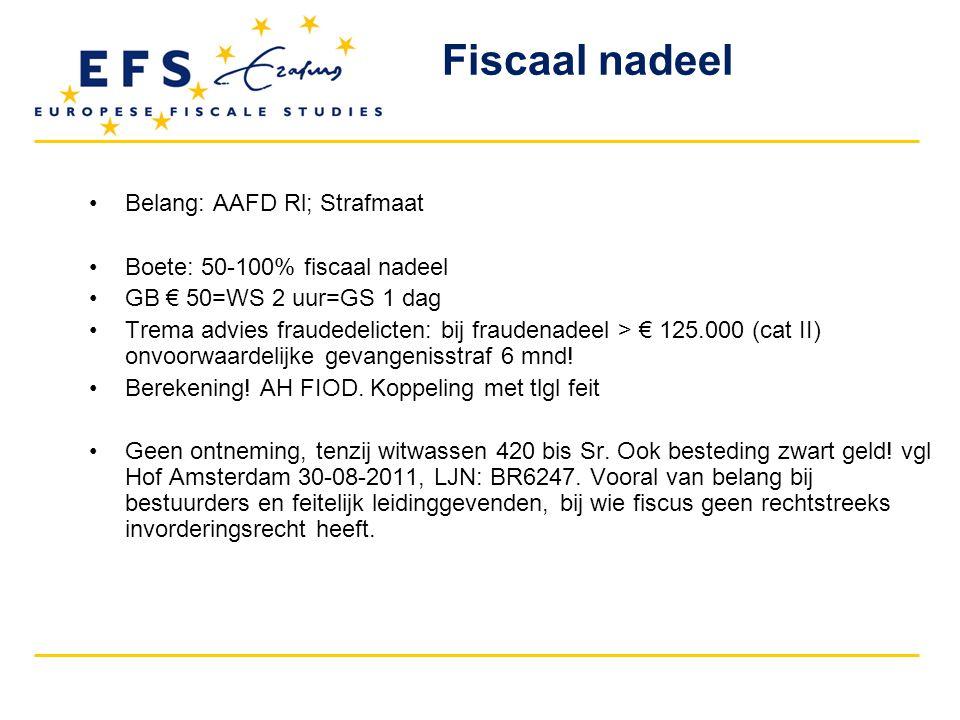 Belang: AAFD Rl; Strafmaat Boete: 50-100% fiscaal nadeel GB € 50=WS 2 uur=GS 1 dag Trema advies fraudedelicten: bij fraudenadeel > € 125.000 (cat II) onvoorwaardelijke gevangenisstraf 6 mnd.