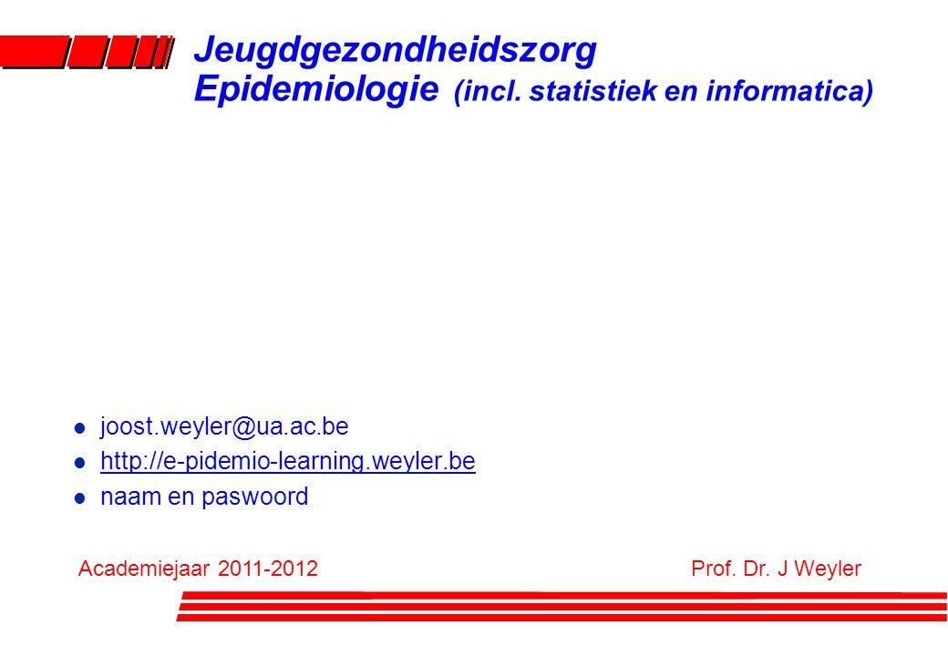 Jeugdgezondheidszorg Epidemiologie (incl. statistiek en informatica) l joost.weyler@ua.ac.be l http://e-pidemio-learning.weyler.be l naam en paswoord