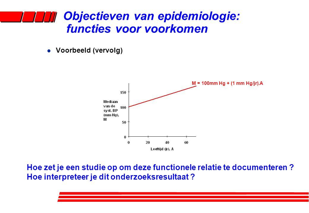 l Voorbeeld (vervolg) M = 100mm Hg + (1 mm Hg/jr).A Objectieven van epidemiologie: functies voor voorkomen Hoe zet je een studie op om deze functionel