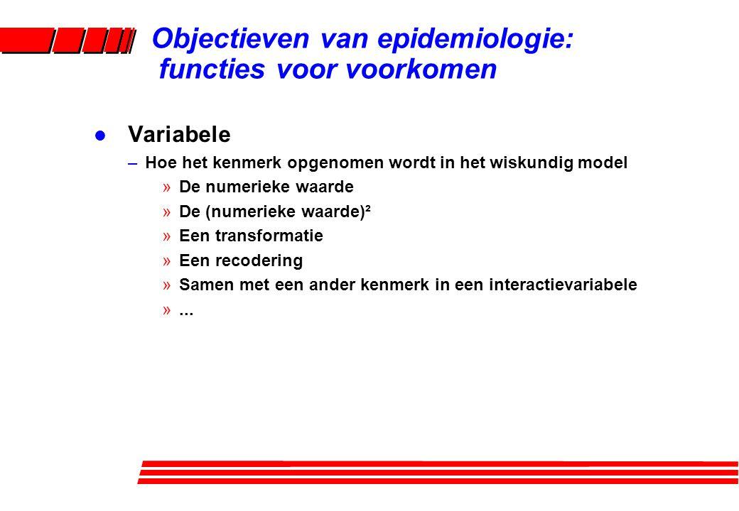 l Variabele –Hoe het kenmerk opgenomen wordt in het wiskundig model »De numerieke waarde »De (numerieke waarde)² »Een transformatie »Een recodering »S