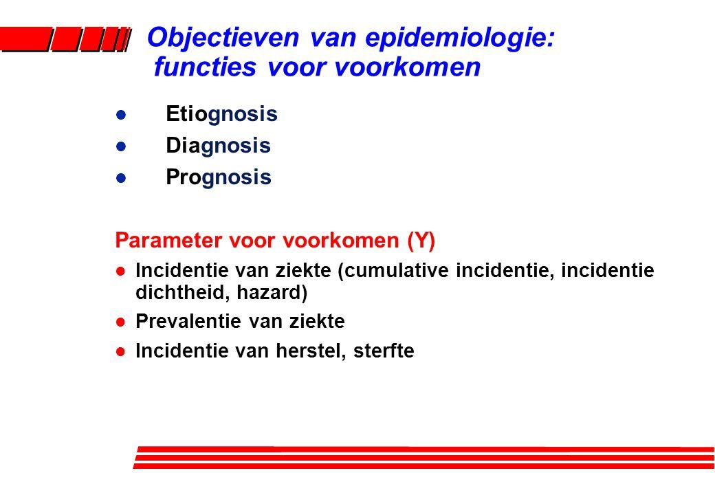l Etiognosis l Diagnosis l Prognosis Parameter voor voorkomen (Y) l Incidentie van ziekte (cumulative incidentie, incidentie dichtheid, hazard) l Prev