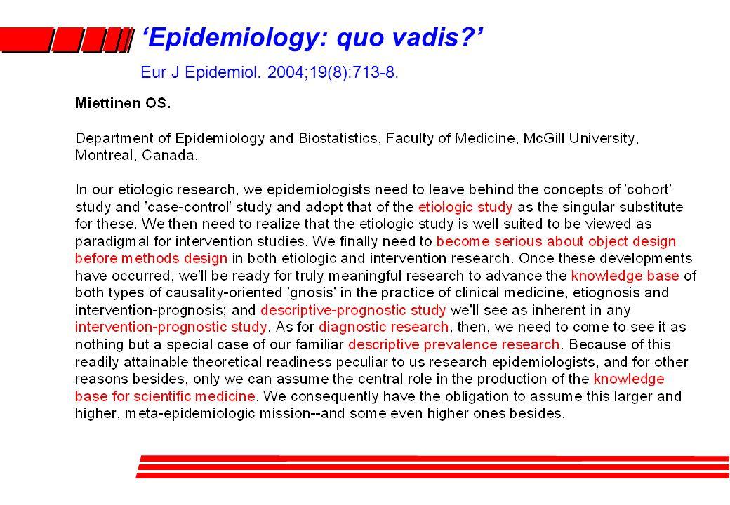 'Epidemiology: quo vadis?' Eur J Epidemiol. 2004;19(8):713-8.