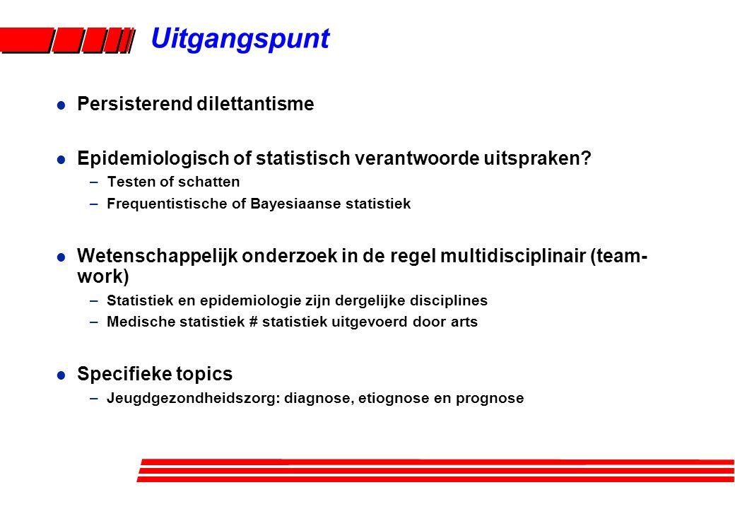 l Persisterend dilettantisme l Epidemiologisch of statistisch verantwoorde uitspraken? –Testen of schatten –Frequentistische of Bayesiaanse statistiek
