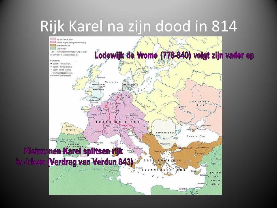 Rijk Karel na zijn dood in 814