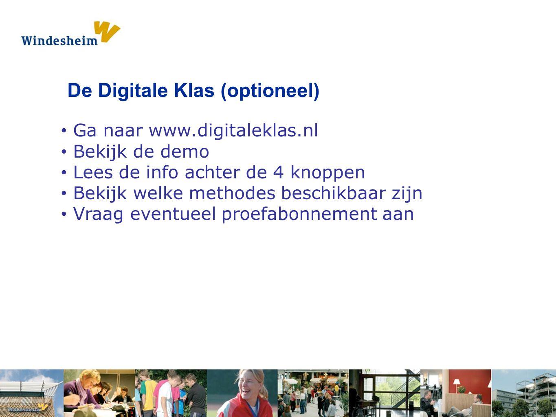 Opdracht 1: Pak een s De Digitale Klas (optioneel) Ga naar www.digitaleklas.nl Bekijk de demo Lees de info achter de 4 knoppen Bekijk welke methodes b