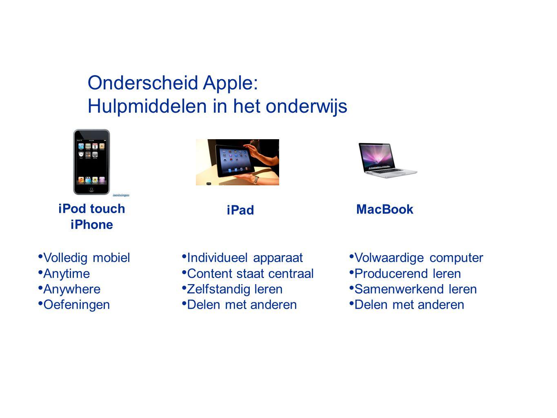 Onderscheid Apple: Hulpmiddelen in het onderwijs MacBook iPod touch iPhone iPad Volledig mobiel Anytime Anywhere Oefeningen Individueel apparaat Conte