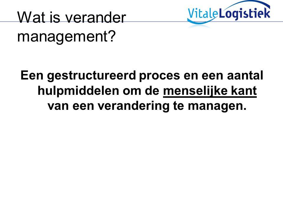 Wat is verander management? Een gestructureerd proces en een aantal hulpmiddelen om de menselijke kant van een verandering te managen.