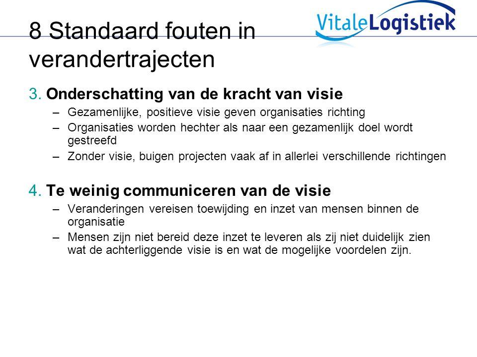8 Standaard fouten in verandertrajecten 3. Onderschatting van de kracht van visie –Gezamenlijke, positieve visie geven organisaties richting –Organisa