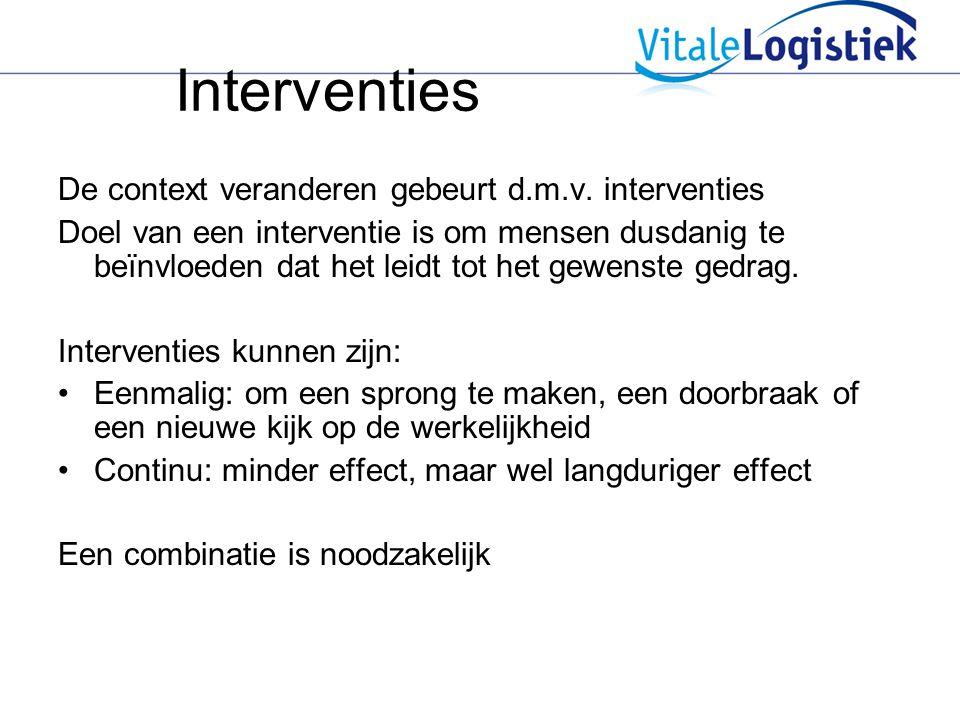 Interventies De context veranderen gebeurt d.m.v. interventies Doel van een interventie is om mensen dusdanig te beïnvloeden dat het leidt tot het gew