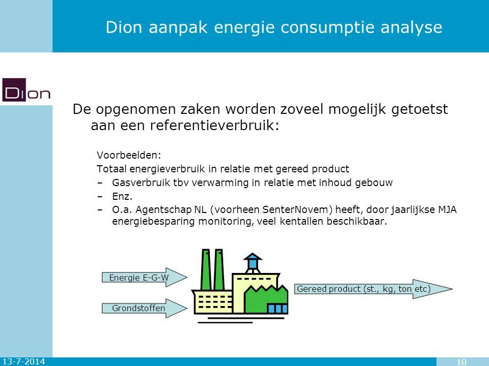 13-7-2014 10 Dion aanpak energie consumptie analyse De opgenomen zaken worden zoveel mogelijk getoetst aan een referentieverbruik: Voorbeelden: Totaal