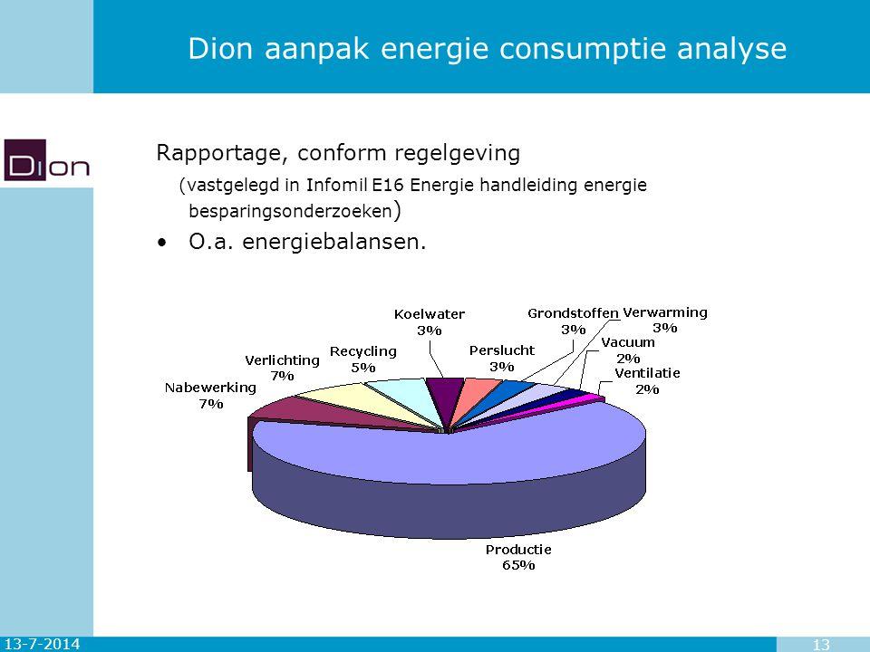 13-7-2014 13 Dion aanpak energie consumptie analyse Rapportage, conform regelgeving (vastgelegd in Infomil E16 Energie handleiding energie besparingso