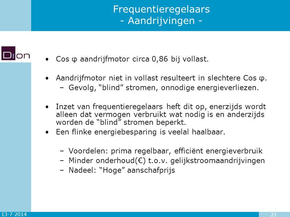 13-7-2014 21 Frequentieregelaars - Aandrijvingen - Cos φ aandrijfmotor circa 0,86 bij vollast. Aandrijfmotor niet in vollast resulteert in slechtere C