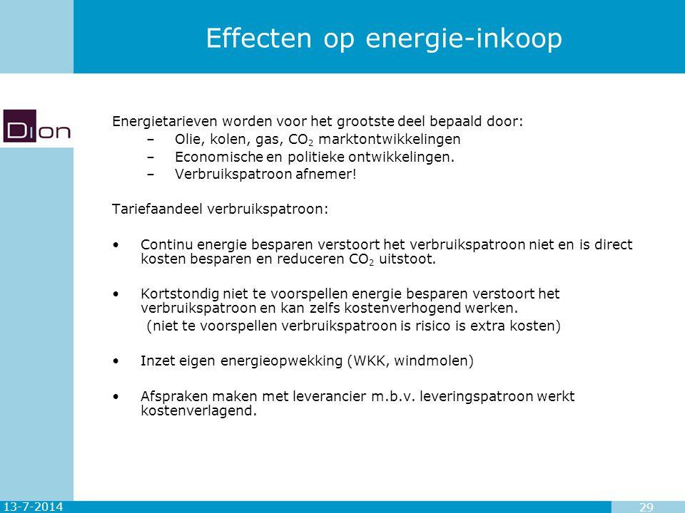13-7-2014 29 Effecten op energie-inkoop Energietarieven worden voor het grootste deel bepaald door: –Olie, kolen, gas, CO 2 marktontwikkelingen –Econo