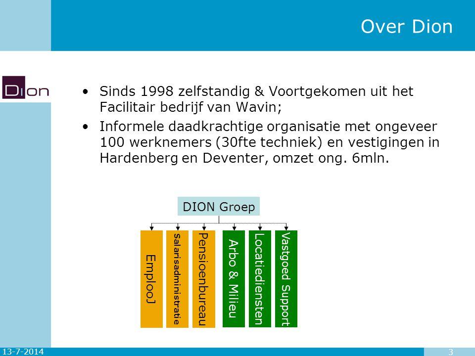 13-7-2014 14 Dion aanpak energie consumptie analyse Daarna: Besparingsopties met een korte TVT direct aanpakken Indien nodig vervolgonderzoeken (studies) opstarten.
