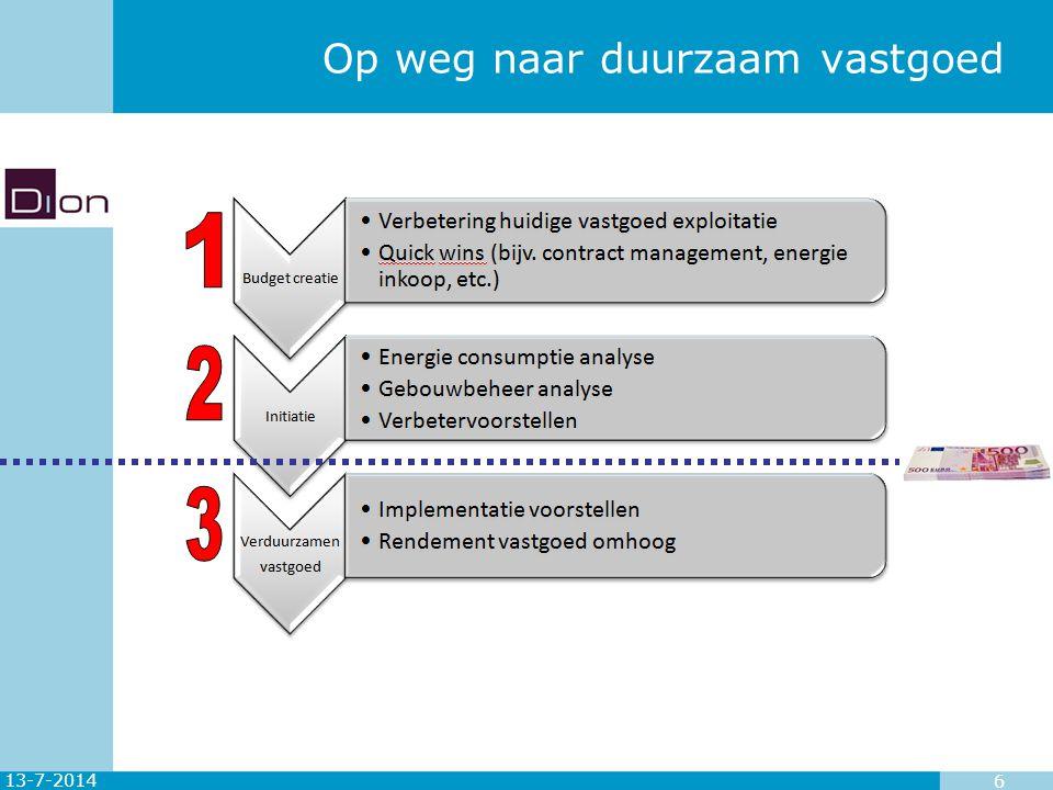13-7-2014 7 Dion aanpak energie consumptie analyse Het doel van ECA is drieledig: het geeft inzicht in het elektriciteit- en gasverbruik en de verdeling over de verschillende aansluitingen (locaties) is tevens basis voor slimme energie-inkoop; het levert informatie op waarmee de selectie plaatsvindt van locaties/gebouwen die een besparingspotentieel hebben; het vormt de basis (referentie) voor de kwantificering van besparingsopties.