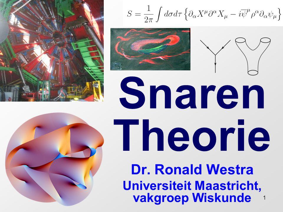 12 Ontstaan van de snarentheorie Later ontstond er wel interesse in dit principe.