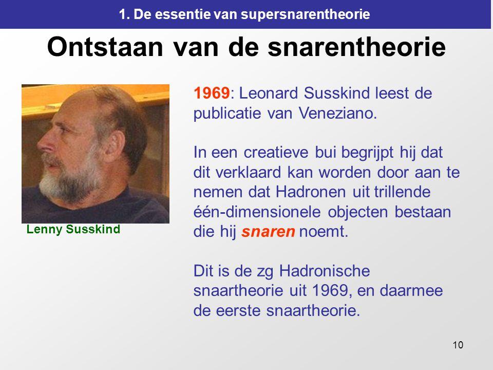 10 Ontstaan van de snarentheorie 1969: Leonard Susskind leest de publicatie van Veneziano. In een creatieve bui begrijpt hij dat dit verklaard kan wor