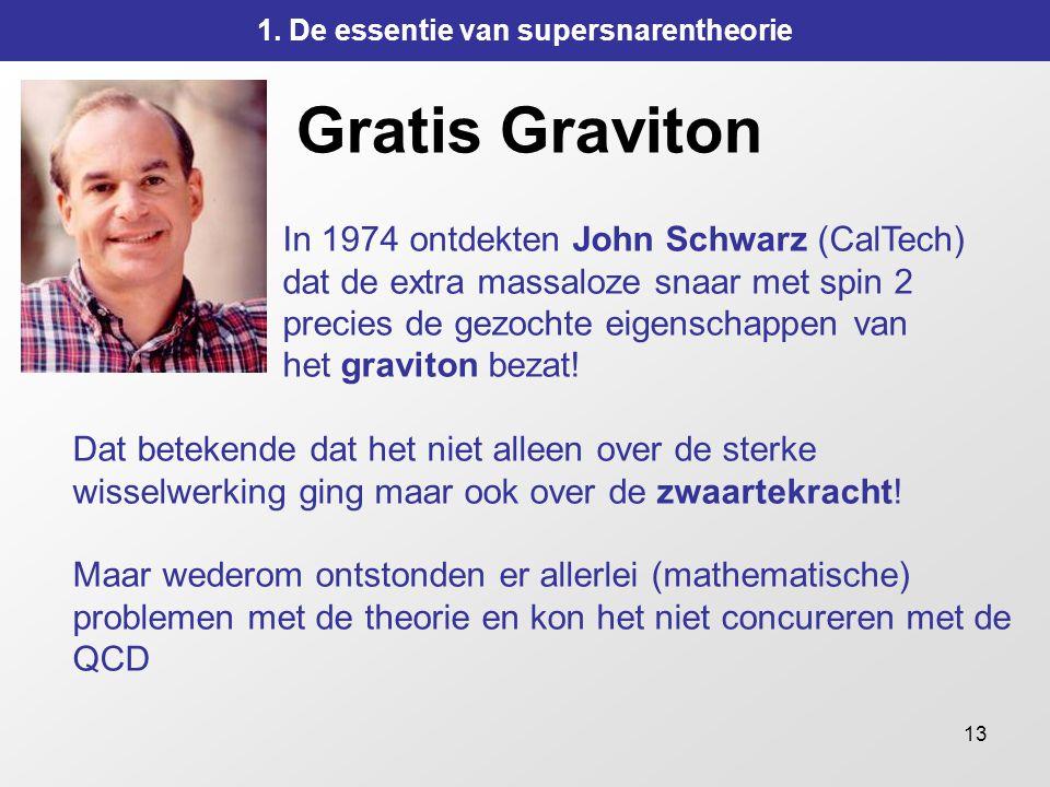 13 Gratis Graviton In 1974 ontdekten John Schwarz (CalTech) dat de extra massaloze snaar met spin 2 precies de gezochte eigenschappen van het graviton