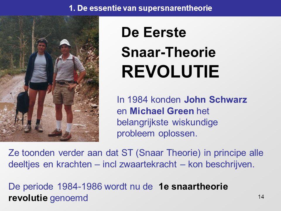 14 De Eerste Snaar-Theorie REVOLUTIE In 1984 konden John Schwarz en Michael Green het belangrijkste wiskundige probleem oplossen. 1. De essentie van s